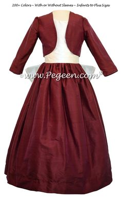 CRANBERRY AND ANTIQUE WHITE JUNIOR BRIDESMAIDS DRESSES