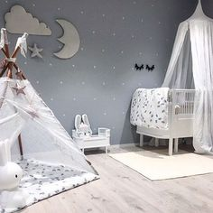 WEBSTA @ 3.little.crowns - Our Dreamy Wall Decor in all its glory in this beautiful nursery space These are made from the softest organic grey satin and consist of a moon, star and cloud. We have them available for pre order now and selling fast at the link in our bio. Beautiful image @stinejmoi