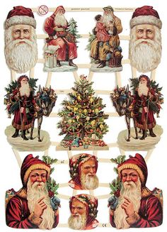 Victorian Santas for DIY projects from Germany