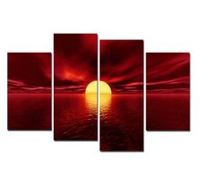 Canvas Prints, Stretched and Framed, Huge Canvas Print 4 Panels Red Sea Seascape Wall Art and Home Decoration, Free Shipping, Canvas Art Print is Much Less Expensive than Oil Paintings P4RLA001 Wieco Art http://www.amazon.com/dp/B00HHPOZ4S/ref=cm_sw_r_pi_dp_PumPtb0HWRFAWMQT