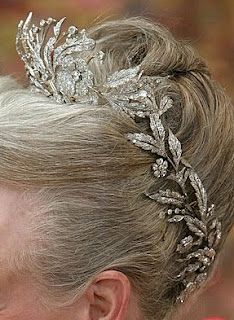 Denmark's Diamond Floral Aigrette Tiara is comprised of 3 pieces and mounted en trenblant.
