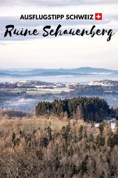 Ein wunderschöner Panoramablick! Das bietet das Ausflugsziel Ruine Schauenberg. Dazu im gleichnamigen Restaurant was feines Essen und schon hat man einen tollen Tagesausflug direkt bei Winterthur. Winterthur, Restaurant, Mountains, Nature, Travel, Ruins, Switzerland Destinations, Day Trips, Skiing