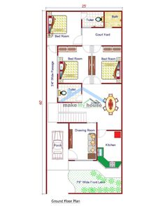 TWO STOREY FT X 60 FT Good things come in small packages. This compact yet charming design packs a lot of personality into an efficient plan . Four Bedroom House Plans, 3d House Plans, Narrow House Plans, Indian House Plans, Model House Plan, Best House Plans, Dream House Plans, House Blueprints, Duplex Floor Plans