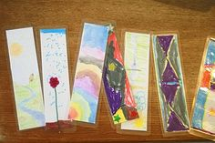 bookmarks with kids art & contact paper
