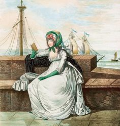 Lady reading a book by the sea wall, 1795.