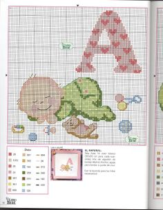letra A Baby Cross Stitch Patterns, Cross Stitch For Kids, Cross Stitch Baby, Cross Stitch Charts, Cross Stitching, Cross Stitch Embroidery, Cross Stitch Letters, Embroidery Fonts, Needlework