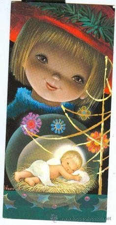 GRAN FELICITACION NAVIDAD (I. Vernet) 22 X 10,5 cm. Christmas Nativity, Christmas Angels, Christmas Time, Christmas Crafts, Xmas, Vintage Christmas Cards, Vintage Cards, Clipart Noel, O Holy Night