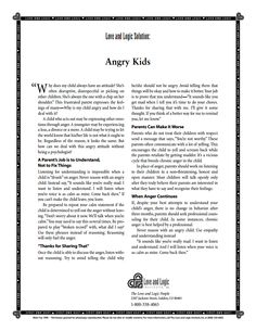 """Angry Kids by Jim Fay of www.loveandlogicic.com (pdf) """"A Parents job is to Understand, Not to Fix Things..."""""""
