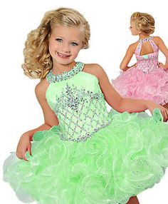 Green-Infants-Cupcake-Flower-Dresses-Crystals-Short-Little-Girl-039-s-Beauty-Pageant