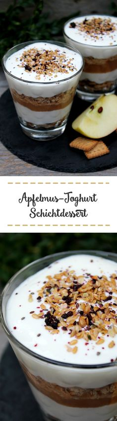 Apfelmus-Joghurt-Schichtdessert