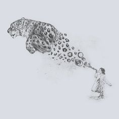 """""""Bubbles the Snow Leopard"""" - T-shirt by Darel Seow on we heart it / visual bookmark on imgfave Leopard Tattoos, Snow Leopard Tattoo, Dobermann Tattoo, Animal Jaguar, Snow Leopard Drawing, Art Du Croquis, Desenho Tattoo, Cool Drawings, Art Inspo"""