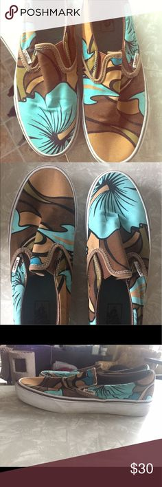 Rare! Vans tropical slip-ons Hawaiian flowers 🌺 These are rare Vans slip ons that originally came out about 10 years ago. These have a fun tropical vibe to them! Gently used with lots of life left in them. Soles just need some cleaning! Vans Shoes Sneakers