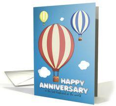 Happy Anniversary Husband Hot Air Balloons card