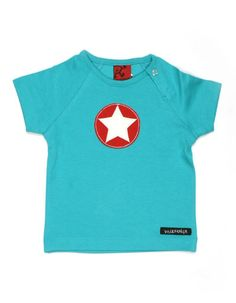 Turquoise t-shirt with star - Villervalla