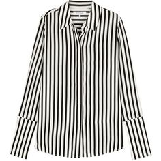 Frame Denim Monochrome Striped Silk Shirt - Size S ($390) ❤ liked on Polyvore featuring tops, cuff shirts, white silk top, round hem shirt, stripe top and white silk shirt