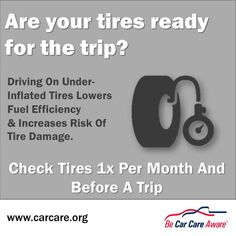 Check your tires before you hit the road!  Easy, safe and green #CarCare