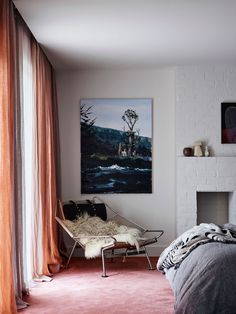 In the main bedroom, vintage Flag Halyard chair by Hans J Wegner for PP Mobler from Modern Times; Mokum blockout linen curtains from James Dunlop Textiles; artwork by Paul Ryan from Bett Gallery. Timber Table, Timber Deck, Flack Studio, Timber Ceiling, Interior Architecture, Interior Design, Design Interiors, Tadelakt, Vogue Living