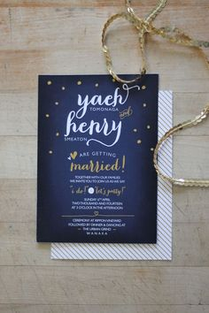 Wedding Invitation by Just My Type - Fun Nay & Gold Spots