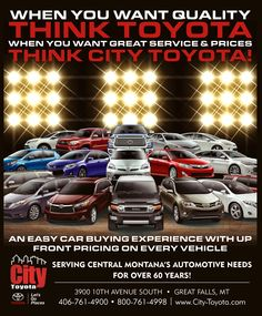 Buy New And Used Toyota Cars In Great Falls, MT From City Toyota. We Serve  Helena, Bozeman, And Havre With The Best Selection Of New And Pre Owned  Toyota ...
