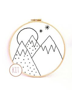 Embroidery kit  monochrome mountains by HanHandMakes on Etsy