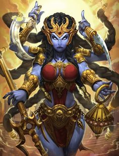 Kali, the Goddess of Destruction, is an assassin of the Hindu pantheon in Smite. To speak of Kali is to speak of the beginning of time itself. Kali Goddess, Indian Goddess, Goddess Art, Kali Smite, Fantasy Characters, Female Characters, Dark Fantasy, Fantasy Art, Goddess Of Destruction