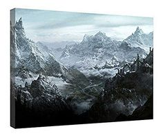 """LeeQueen Canvas Prints Wall Art - Skyrim Mountain - Wood Board Background Stretched Canvas Wrap Ready to Hang for Home and Office Decoration - 24"""" x 16"""""""