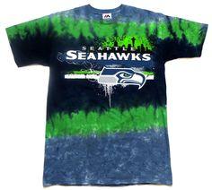 d40132136664 NFL Seattle Seahawks Horizontal Stencil Tie-Dye T-Shirt  SeattleSeahawks