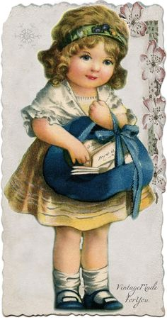 """Christmas girl with Christmas postcards"". Free image from VintageMadeForYou."