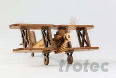Laser cut wooden airplane - Kids and grown-ups will like this cute toy airplane. Free DIY instructions with recommended laser parameters for your Trotec laser. Airplane Kids, Wooden Airplane, Trotec Laser, Laser Art, Laser Cutter Projects, Cute Toys, Made Of Wood, Step By Step Instructions, Laser Engraving