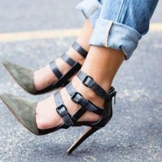 How about this shoe?  Share to get a coupon for all on FSJ Army Green Stiletto Heels Buckles Suede Closed Toe Sandals