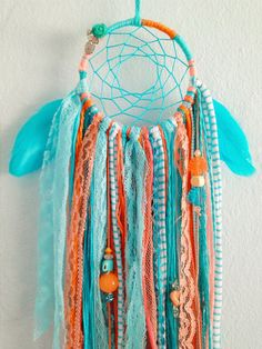 Turquoise & Coral Woven Dreamcatcher with by StylishStuffBySteph