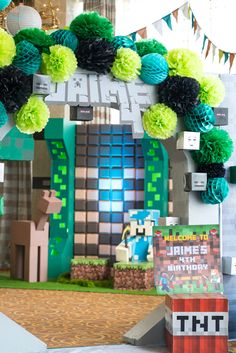 Tissue arch entrance from a Minecraft Birthday Party on Kara's Party Ideas | KarasPartyIdeas.com (15)