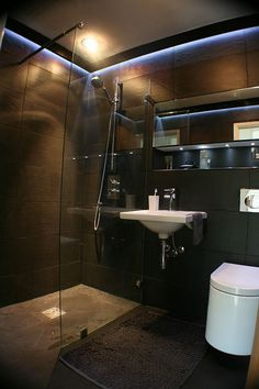 ♂ Contemporary Dark Shower Masculine bathroom design inspiration