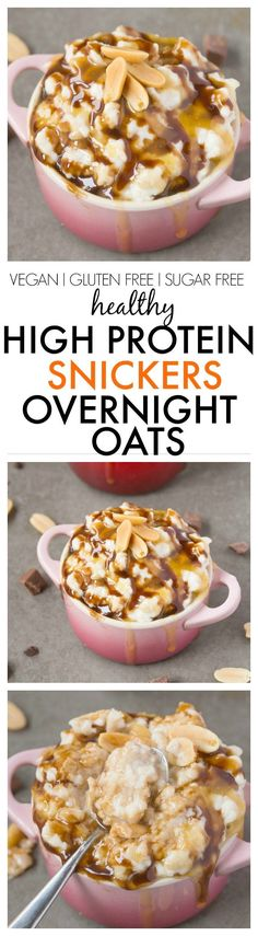 Protein Snickers Overnight Oats- Easy, delicious and totally dessert for breakfast but with NO sugar or nasties! It tastes just like a snickers bar! {vegan, gluten free, sugar free recipe}- Healthy High Protein Snickers Overnight Oats- Easy, delicious and Snickers Bar, Snickers Dessert, Protein Foods, High Protein, Healthy Protein, Spinach Protein, Tasty Vegetarian, Paleo, Breakfast