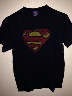 Superman Navy /& Orange Shield Adult Work Shirt