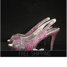 1. Top quality crystals, Featured: Pink crystals2. Butterfly crystal image: AB crystals3. Image: 3.5 heels 3/4 platforms. 4. 100% handmade, Breath taking quality5. 15 DAYS PROCESSING + shipping6. Consult us if unsure about sizing
