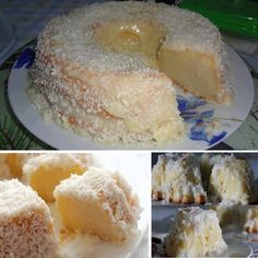 Ingredients: For the Cake: 1 can condensed milk 1 can evaporated milk 1 cup coconut milk 500 grams flour cups) cup sugar 3 large whole eggs 3 tablespoons margarine For the Icing: 1 cup coconut milk 2 tablespoons sugar 1 cup shredded coconut Just Desserts, Delicious Desserts, Yummy Food, Delicious Dishes, Cupcakes, Cupcake Cakes, Bundt Cakes, Cookie Cakes, Pavlova
