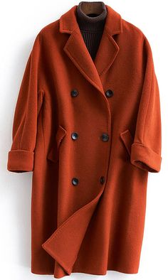 New trendy plus size Coats double breast coat red Notched woolen overcoat Coats For Women, Jackets For Women, Clothes For Women, Trendy Plus Size Coats, New Look Coats, Suede Trench Coat, Plus Size Winter, Outerwear Women, Plus Size Outerwear