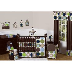 Complete the look of your nursery with this stylish Designer Dot 9-piece crib bedding set from Sweet Jojo Designs. The crib bedding set includes the bedding and decorative elements such as a toy bag, dust ruffle, a decorative throw pillow and much more.
