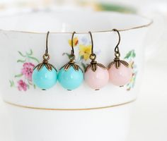 Beaded Petal Earrings Aqua and Pink Brass by JacarandaDesigns