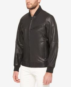Marc New York Leather Bomber Jacket - Black 3XT