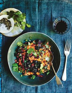 Rainbow chard, red bean, and peanut stew recipe from 15 minute vegan by Katy Beskow Quick Vegan Meals, Delicious Vegan Recipes, Easy Healthy Recipes, New Recipes, Vegetarian Recipes, Easy Meals, Savoury Recipes, Vegan Dinners, Dinner Recipes