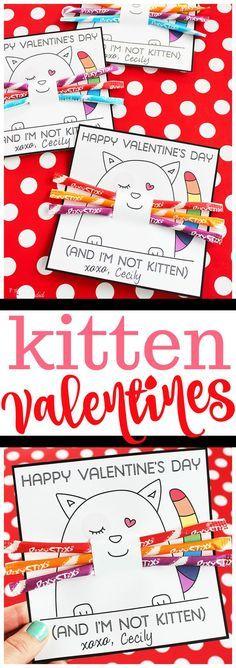 Printable kitten valentine cards for kids made with Pixy Stix #valentinecard#kidsvalentinecard#valentineprintable #valentinesday