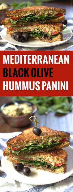 Grilled Mediterranean Black Olive Hummus Panini Sandwiches #CalOlivesMedRecipe