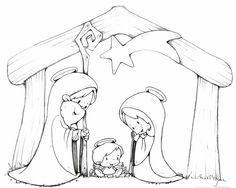 Baby Jesus in a Manger/Coloring page | printables | Pinterest | Baby ...