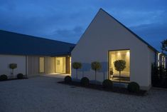 New build house in Co. Carlow, completed The H plan form, making two open courtyards, maximises light and views while placing the double height hallway at the heart of the house. The form of buildings echoes low eaved and grounded. House Designs Ireland, Pergola, Bungalow Renovation, Bungalow House Design, Modern Bungalow Exterior, Long House, Irish Cottage, Ireland Homes, House Roof