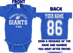 rylblue daddys mommy giants baby jersey customized personalized infant shirt jersey new york  gear onesie bodysuit clothes on Etsy, $25.00