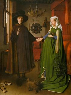 Jan van Eyck Portrait of Giovanni Arnolfini and his Wife art painting for sale; Shop your favorite Jan van Eyck Portrait of Giovanni Arnolfini and his Wife painting on canvas or frame at discount price. Caravaggio, Renaissance Kunst, Renaissance Paintings, Renaissance Artists, Italian Renaissance, Victorian Paintings, Renaissance Costume, Victorian Art, Arnolfini Portrait