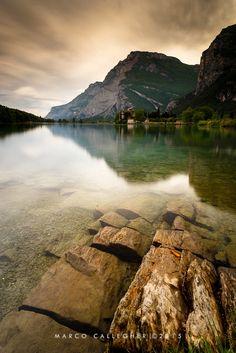 Toblino Lake - sunset (after storm) on Toblino Lake, Trento Italy
