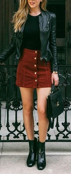 #fall #fashion / leather + red skirt